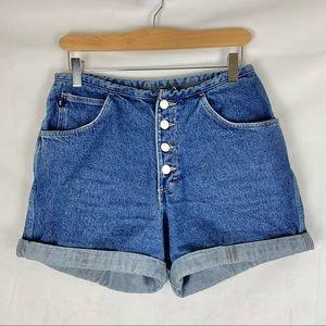 VINTAGE hi rise denim mom shorts button fly Sz 6